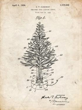 PP766-Vintage Parchment Christmas Tree Poster by Cole Borders