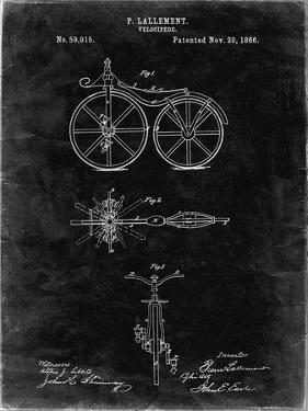 PP77-Black Grunge First Bicycle 1866 Patent Poster by Cole Borders