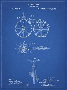 PP77-Blueprint First Bicycle 1866 Patent Poster by Cole Borders