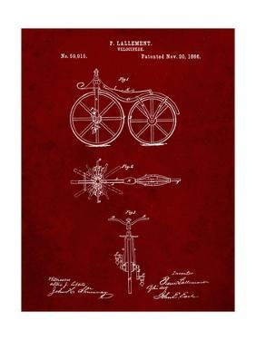 PP77-Burgundy First Bicycle 1866 Patent Poster by Cole Borders