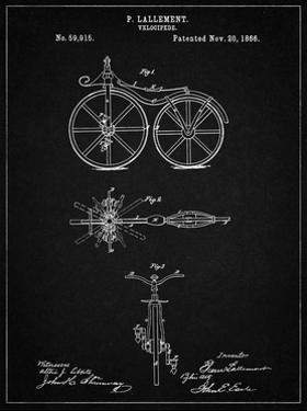 PP77-Vintage Black First Bicycle 1866 Patent Poster by Cole Borders
