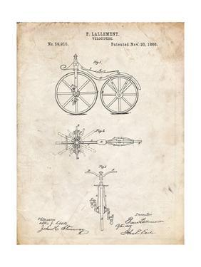 PP77-Vintage Parchment First Bicycle 1866 Patent Poster by Cole Borders