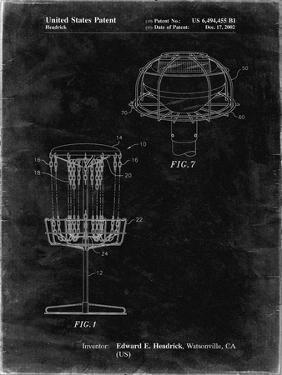 PP782-Black Grunge Disc Golf Basket Patent Poster by Cole Borders