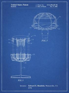 PP782-Blueprint Disc Golf Basket Patent Poster by Cole Borders