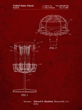 PP782-Burgundy Disc Golf Basket Patent Poster by Cole Borders