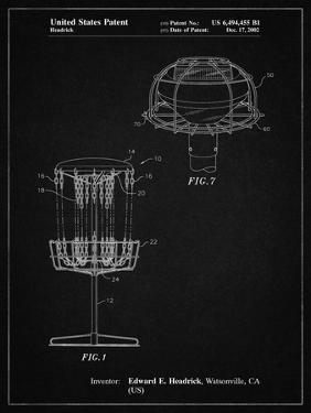 PP782-Vintage Black Disc Golf Basket Patent Poster by Cole Borders