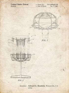 PP782-Vintage Parchment Disc Golf Basket Patent Poster by Cole Borders