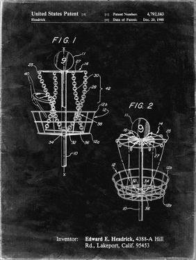 PP783-Black Grunge Disk Golf Basket 1988 Patent Poster by Cole Borders