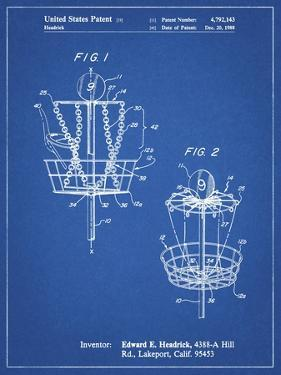 PP783-Blueprint Disk Golf Basket 1988 Patent Poster by Cole Borders