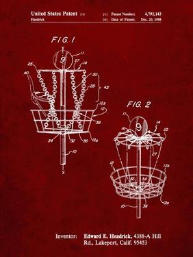 PP783-Burgundy Disk Golf Basket 1988 Patent Poster by Cole Borders