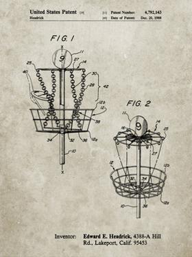 PP783-Sandstone Disk Golf Basket 1988 Patent Poster by Cole Borders
