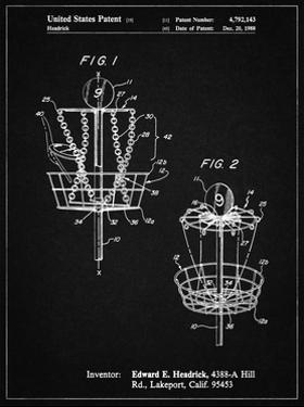 PP783-Vintage Black Disk Golf Basket 1988 Patent Poster by Cole Borders