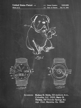 PP784-Chalkboard Dog Watch Clock Patent Poster by Cole Borders