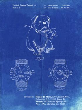 PP784-Faded Blueprint Dog Watch Clock Patent Poster by Cole Borders