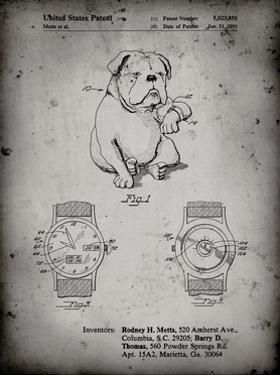 PP784-Faded Grey Dog Watch Clock Patent Poster by Cole Borders