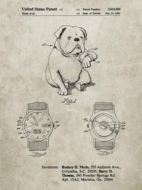 PP784-Sandstone Dog Watch Clock Patent Poster by Cole Borders