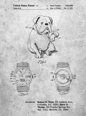 PP784-Slate Dog Watch Clock Patent Poster by Cole Borders