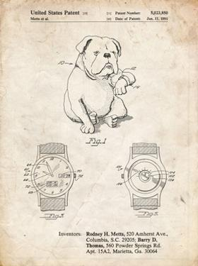 PP784-Vintage Parchment Dog Watch Clock Patent Poster by Cole Borders