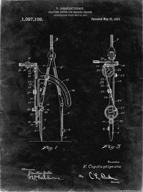 PP785-Black Grunge Drafting Compass 1912 Patent Poster by Cole Borders