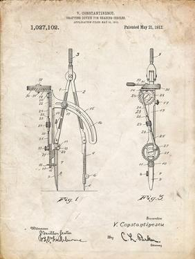 PP785-Vintage Parchment Drafting Compass 1912 Patent Poster by Cole Borders