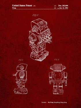 PP790-Burgundy Dynamic Fighter Toy Robot 1982 Patent Poster by Cole Borders