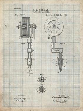 PP814-Antique Grid Parchment First Tattoo Machine Patent Poster by Cole Borders