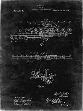 PP820-Black Grunge Flute 1908 Patent Poster by Cole Borders
