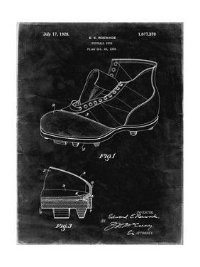 PP823-Black Grunge Football Cleat 1928 Patent Poster by Cole Borders