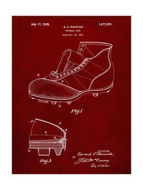 PP823-Burgundy Football Cleat 1928 Patent Poster by Cole Borders