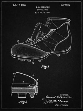 PP823-Vintage Black Football Cleat 1928 Patent Poster by Cole Borders