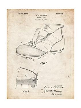 PP823-Vintage Parchment Football Cleat 1928 Patent Poster by Cole Borders