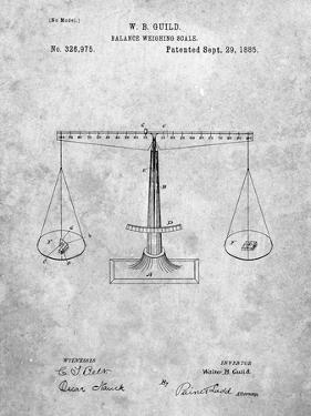 PP84-Slate Scales of Justice Patent Poster by Cole Borders
