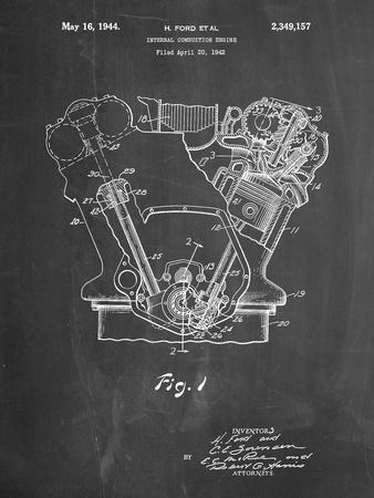 PP844-Chalkboard Ford Internal Combustion Engine Poster