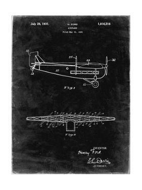 """PP849-Black Grunge Ford Tri-Motor Airplane """"The Tin Goose"""" Patent Poster by Cole Borders"""