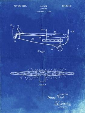 """PP849-Faded Blueprint Ford Tri-Motor Airplane """"The Tin Goose"""" Patent Poster by Cole Borders"""