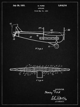 """PP849-Vintage Black Ford Tri-Motor Airplane """"The Tin Goose"""" Patent Poster by Cole Borders"""