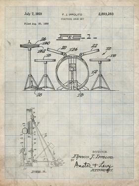 PP852-Antique Grid Parchment Frank Ippolito Practice Drum Set Patent Poster by Cole Borders