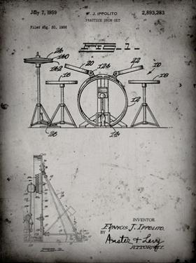 PP852-Faded Grey Frank Ippolito Practice Drum Set Patent Poster by Cole Borders