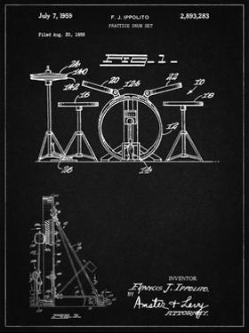PP852-Vintage Black Frank Ippolito Practice Drum Set Patent Poster by Cole Borders