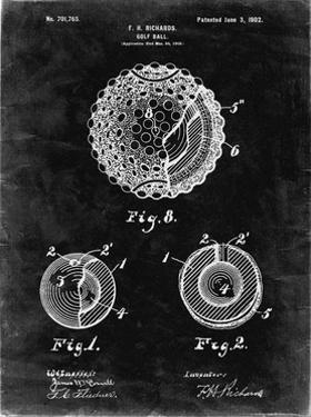 PP856-Black Grunge Golf Ball 1902 Patent Poster by Cole Borders