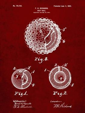 PP856-Burgundy Golf Ball 1902 Patent Poster by Cole Borders