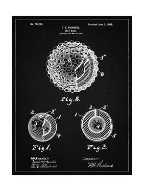 PP856-Vintage Black Golf Ball 1902 Patent Poster by Cole Borders