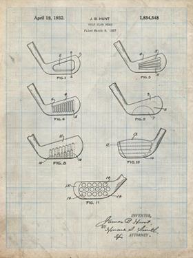 PP857-Antique Grid Parchment Golf Club Head Patent Poster by Cole Borders