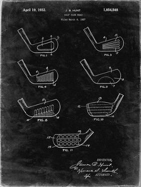 PP857-Black Grunge Golf Club Head Patent Poster by Cole Borders
