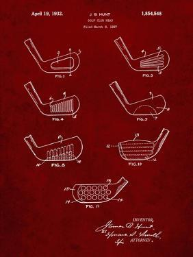 PP857-Burgundy Golf Club Head Patent Poster by Cole Borders