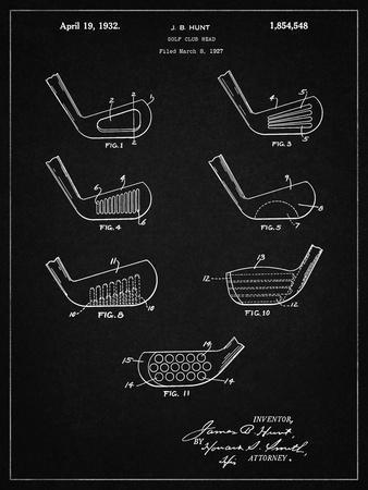 PP857-Vintage Black Golf Club Head Patent Poster