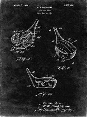 PP858-Black Grunge Golf Fairway Club Head Patent Poster by Cole Borders