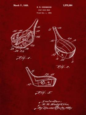 PP858-Burgundy Golf Fairway Club Head Patent Poster by Cole Borders