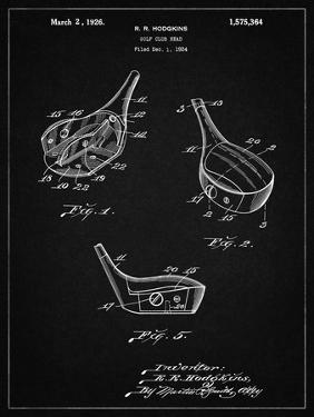 PP858-Vintage Black Golf Fairway Club Head Patent Poster by Cole Borders