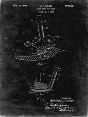 PP859-Black Grunge Golf Sand Wedge Patent Poster by Cole Borders